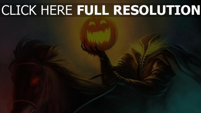 fond d'écran hd halloween cavalière citrouille-lanterne illuminée