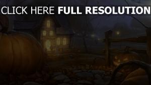 citrouille-lanterne maison nuit