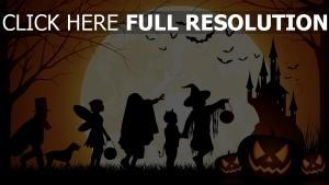 silhouette robe de fantaisie halloween lune