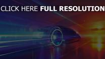 véhicule vitesse futuriste coucher de soleil