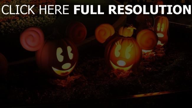 fond d'écran hd citrouille-lanterne mickey nouse illuminée halloween
