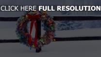 couronne de noël guirlande tempête de neige