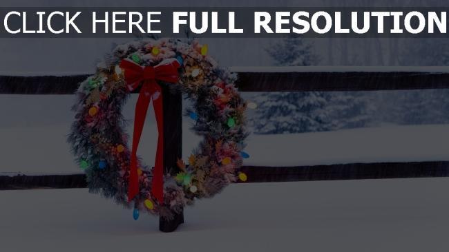 fond d'écran hd couronne de noël guirlande tempête de neige